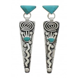 Southwest Jewelry Turquoise Sterling Silver Post Earrings EX24781