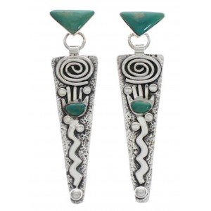 Turquoise Inlay And Sterling Silver Hand Post Dangle Earrings EX24782