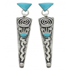 Genuine Sterling Silver Turquoise Inlay Post Dangle Earrings EX24787