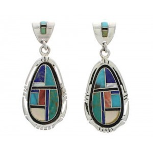 Multicolor Inlay Sterling Silver Post Dangle Earrings Jewelry EX24802