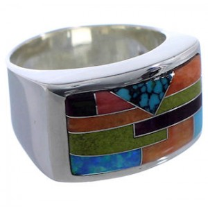 Multicolor Inlay Whiterock Sunrise Ring Size 11-3/4 EX43807