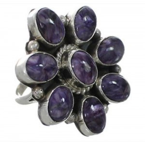 Charoite Sterling Silver Navajo Jewelry Ring Size 6 EX26346