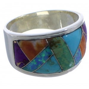 Sunrise WhiteRock Multicolor Inlay Silver Ring Size 8-1/4 TX43816