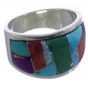 Sunrise WhiteRock Multicolor Silver Ring Size 6-1/2 TX43819