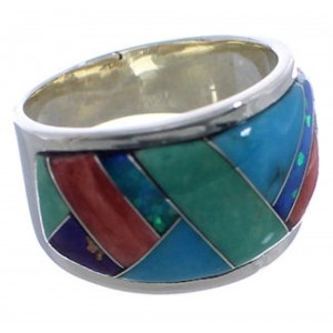 WhiteRock Sunrise Multicolor Sterling Silver Ring Size 7 TX43883