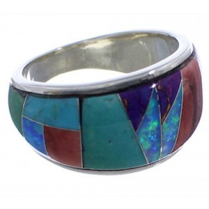 WhiteRock Sunrise Multicolor Sterling Silver Ring Size 6-1/2 TX43884