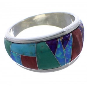 WhiteRock Multicolor Inlay Sterling Silver Ring Size 8-1/2 TX43886
