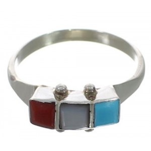 American Indian Multicolor Sterling Silver Ring Size 8-1/2 FX26818