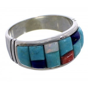 Southwest Multicolor Sterling Silver Ring Size 12-1/4 EX50680