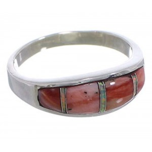 Red Oyster Shell And Opal Silver Ring Size 8-1/4 EX50744