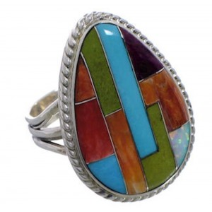 Southwestern Silver Multicolor Inlay Ring Size 7-3/4 EX50756
