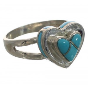 Turquoise Authentic Sterling Silver Heart Ring Size 7-3/4 CX52150