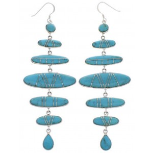 Turquoise And Sterling Silver Southwest Jewelry Earrings PX31818