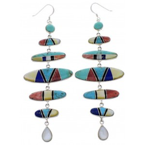 Sterling Silver And Multicolor Southwest Jewelry Earrings PX31836