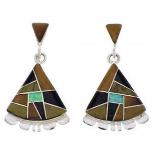 Sterling Silver Jewelry Multicolor Inlay Post Dangle Earrings PX32151