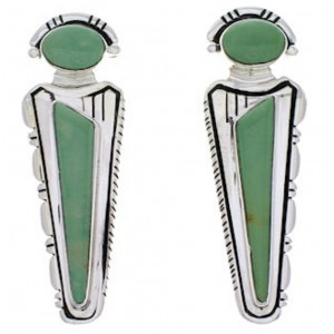 Genuine Sterling Silver Southwestern Turquoise Inlay Earrings PX32194