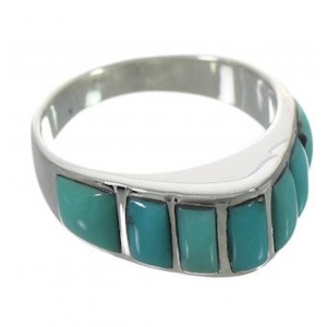 Southwest Turquoise Inlay Jewelry Ring Size 8-3/4 VX36627