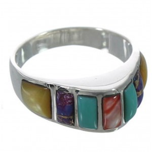 Southwest Multicolor Inlay Silver Ring Size 7-3/4 VX36675