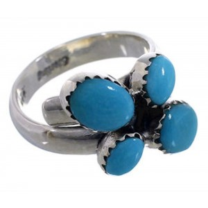 Turquoise Adjustable Sterling Silver Ring Size 6-1/2 7 8 EX43968