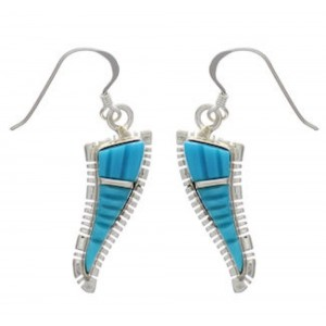 Turquoise Inlay Southwest Silver Hook Dangle Earrings FX31064