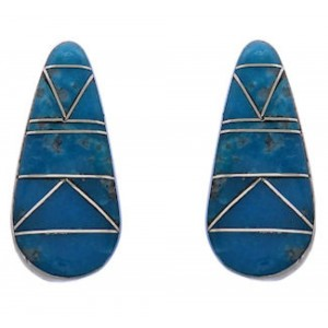 Southwest Sterling Silver Turquoise Inlay Post Earrings FX31087