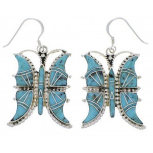 Southwest Turquoise Butterfly Silver Earrings FX31800