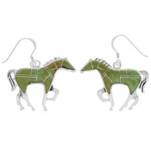 Turquoise Sterling Silver Horse Earrings FX31846