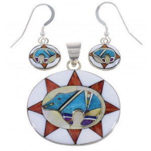 Multicolor Inlay Silver Bear Pendant And Earrings Jewelry Set PX30867