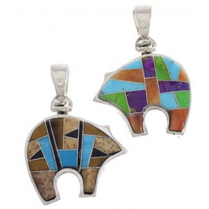 Reversible Sterling Silver Turquoise Multicolor Bear Pendant PX30871