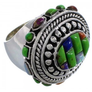 Southwestern Multicolor Sterling Silver Ring Size 5-1/2 CX50001