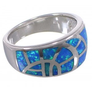 Sterling Silver Blue Opal Inlay Southwest Ring Size 6-3/4 CX51532
