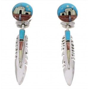 Multicolor Feather Native American Village Design Earrings PX31409