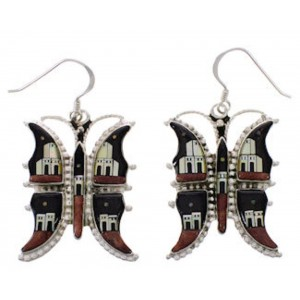 Butterfly Multicolor Native American Design Silver Earrings PX31435