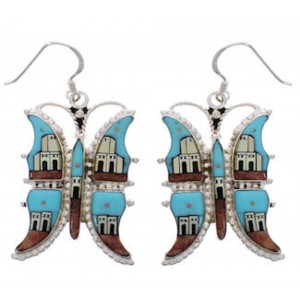 Multicolor Native American Village Design Butterfly Earrings PX31437