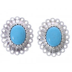 Blue Turquoise And Sterling Silver Concho Clip On Earrings PX26040