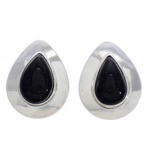 Onyx And Genuine Sterling Silver Tear Drop Post Earrings PX26013