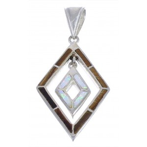 Authentic Sterling Silver Tiger Eye Opal Southwestern Pendant WX43279