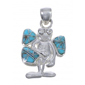 Genuine Sterling Silver Turquoise And Opal Bee Pendant WX43541