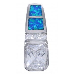 Blue Opal And Cubic Zirconia Southwest Pendant EX42756