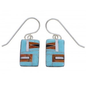Silver Multicolor Inlay Southwest Earrings FX32484