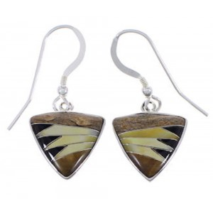Sterling Silver Multicolor Inlay Hook Dangle Earrings FX32812