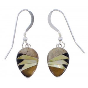 Sterling Silver Jewelry Multicolor Inlay Earrings FX32829