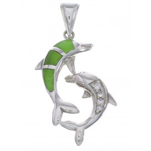 Silver And Jade Inlay Southwest Dolphin Pendant PX43315