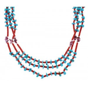 Turquoise Multicolor Navajo American 3- Strand Bead Necklace MX26582