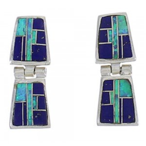 Southwest Man Made Lapis Blue Opal Post Dangle Earrings PX43169