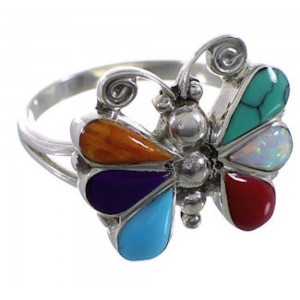 Southwestern Multicolor Butterfly Silver Ring Size 5-1/2 EX51442