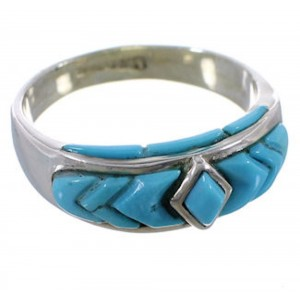 Sterling Silver Turquoise Inlay Ring Size 5-3/4 EX51484