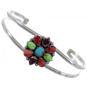 Multicolor And Genuine Sterling Silver Jewelry Cuff Bracelet PX28176