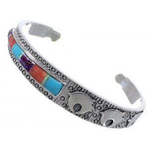 Multicolor Inlay Southwest Silver Bear Cuff Bracelet PX28234