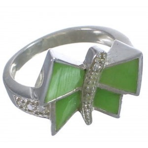 Jade Sterling Silver Southwest Dragonfly Ring Size 6-1/2 WX38782